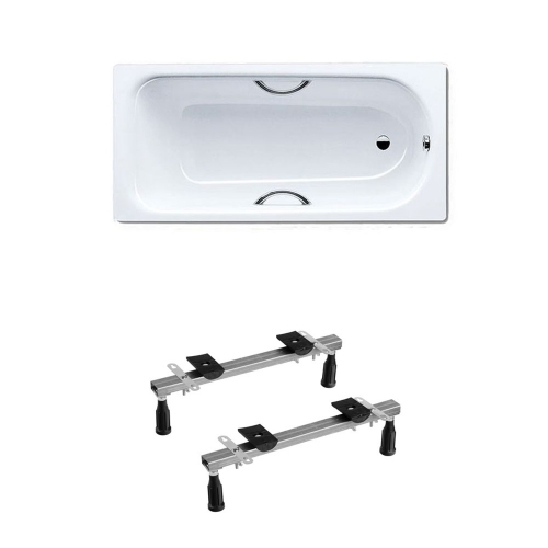 Kaldewei Eurowa 312 Steel Bath Drilled For Twin Grips 1700 x 700mm No Tap Holes Inc Legs & Grips