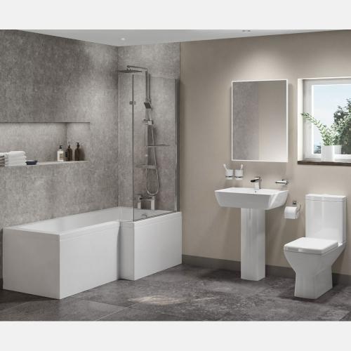 L Shape Shower Bath Suite With Basin, Pedestal & Toilet
