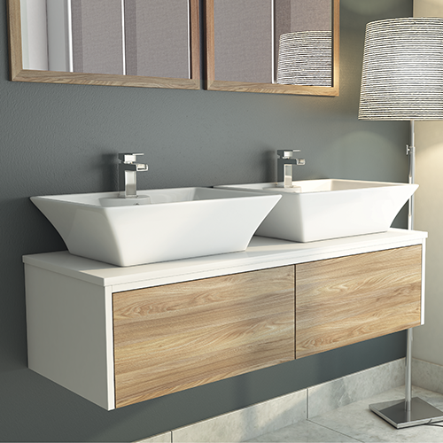 Float 1200mm Wall Vanity Unit & Worktop (Basins Available Separately)