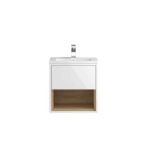 Hudson Reed Coast 500mm White Wall Hung Vanity Unit with basin option 2 - CST985