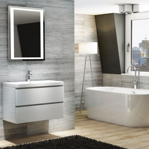 800mm Wall Unit with 1 Tap Hole Basin -  Synergy