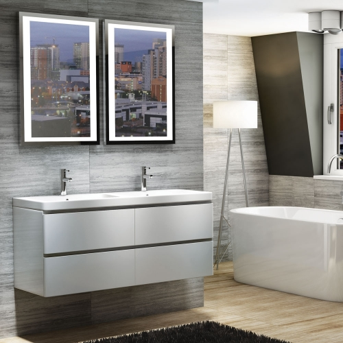 Synergy 1200mm Wall Unit with Double 2 Tap Hole Basin