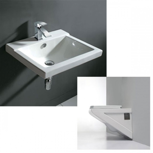 Geo Wall Hung Basin & Toilet Set With Bottle Trap - Includes Tap & Waste