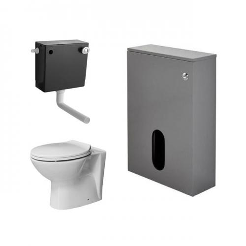 Salona 500mm WC Back To Wall Unit, Cistern, BTW Pan & Seat - Grey