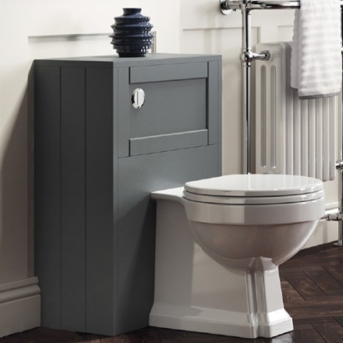 Grey Traditional BTW Furniture Unit inc Concealed Cistern & Back To Wall Toilet with Seat