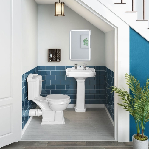 Traditional Toilet, 2 TH Basin  & Taps Set - Cloakroom