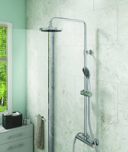 Chrome Thermostatic Round Bar Shower with Twin Shower Options