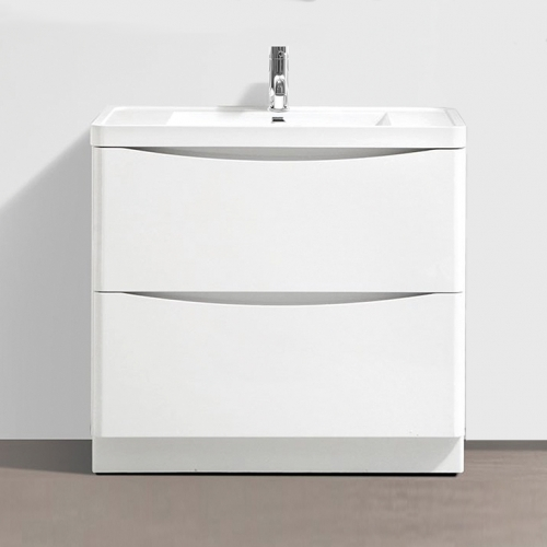 White Gloss 900mm Freestanding Vanity Unit with 1 Tap Hole Basin - Maddox By Voda Design