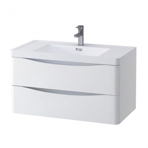 White Gloss 900mm Wall Hung Vanity Unit with 1 Tap Hole Basin - Maddox By Voda Design