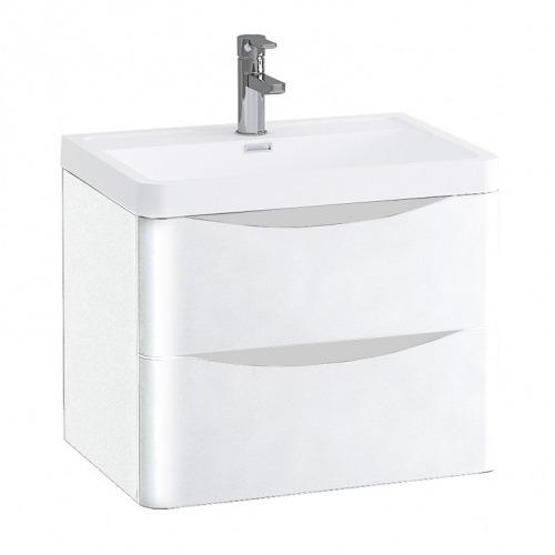 White Gloss 600mm Wall Hung Vanity Unit with 1 Tap Hole Basin - Maddox By Voda Design