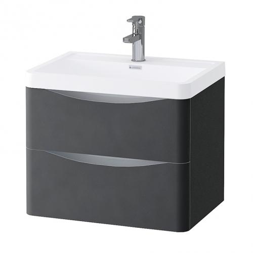 Grey Matt 600mm Wall Hung Vanity Unit with 1 Tap Hole Basin - Maddox By Voda Design