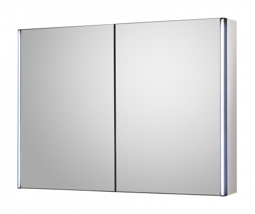 Hudson Reed Meloso LED motion sensor mirror cabinet with shaver socket H600 x W800 x D140 mm LQ094