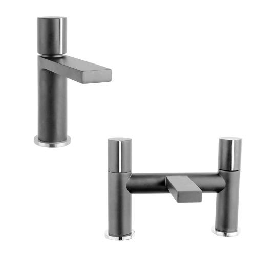 Basin & Bath Tap Set - Metallic Grey Round Handle - By Voda Design