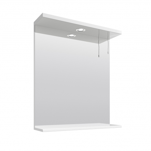 White Gloss 650mm Mirror and Light Canopy - Blanco by Voda Design