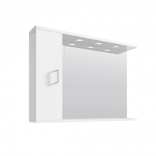 White Gloss 1050mm Mirror and Light Canopy - Blanco by Voda Design