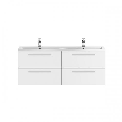 Hudson Reed Quartet Gloss White 1440mm Double Cabinet & Basin - QUA001