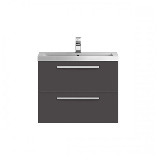 Hudson Reed Quartet Gloss Grey 720 mm Cabinet & Basin - QUA006