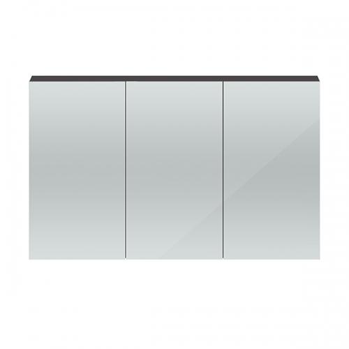 Hudson Reed Gloss Grey Quartet 1350mm Wall Hung Mirror Cabinet - QUA010