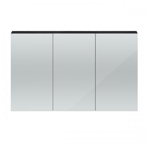 Hudson Reed Hacienda Black Quartet 1350mm Wall Hung Mirror Cabinet - QUA011