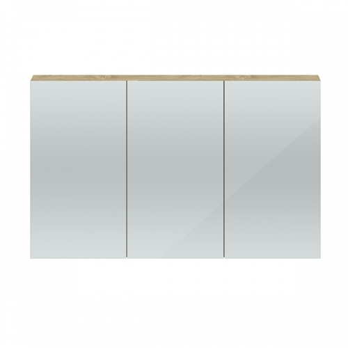 Hudson Reed Natural Oak Quartet 1350mm Wall Hung Mirror Cabinet - QUA012