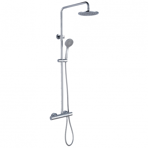 Devon Dual Shower Round Thermostatic Cool Touch Chrome Plated Full Shower Kit