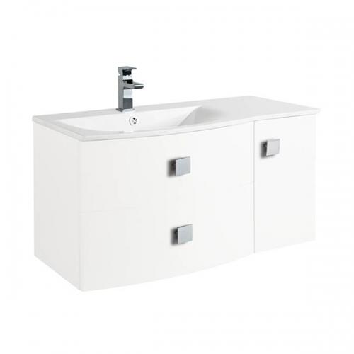 Hudson Reed Sarenna Textured Wood Grain White Wall Hung 1000mm Left Hand Cabinet and Basin - SAR119L