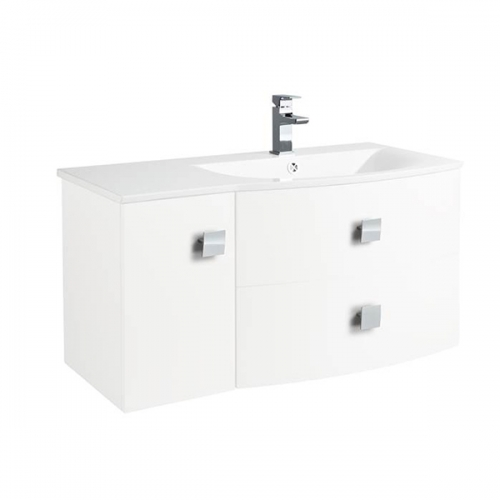 Hudson Reed Sarenna Textured Wood Grain White Wall Hung 1000mm Right Hand Cabinet and Basin - SAR119R