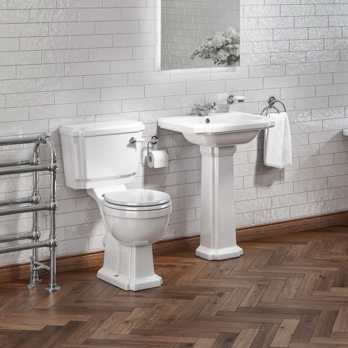 Traditional Toilet, 1 TH Basin  & Taps Set - Cloakroom