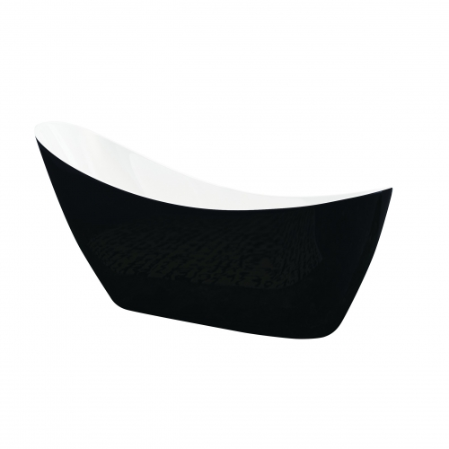 Freestanding Modern Slipper Thin Edge Bath - Black Slipper by Synergy