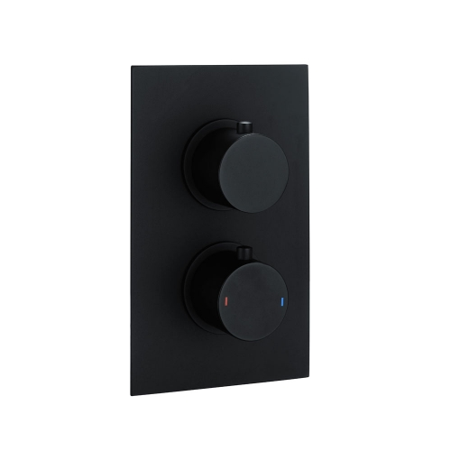 Black Round Concealed Twin Thermostatic Shower Valve by Voda Design