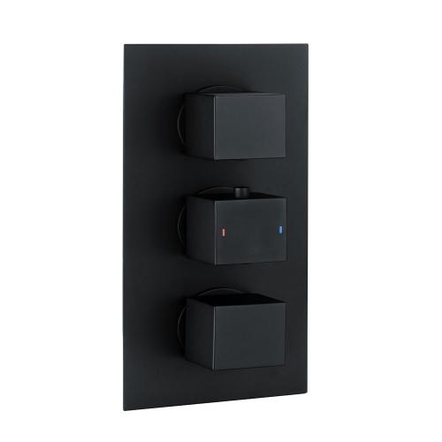 Black Square Concealed Triple Thermostatic Shower Valve by Voda Design