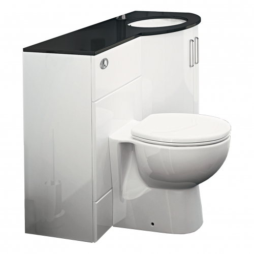 Synergy Sparkle Gloss White Basin Unit with WC Unit and Top