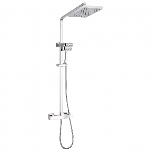 Square Thermostatic Cool Touch Chrome Plated Full Shower Kit