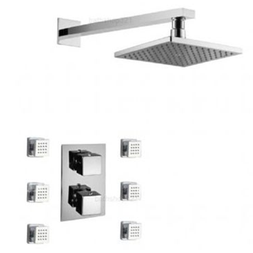 Square Thermostatic Shower System with Head and Body Jets