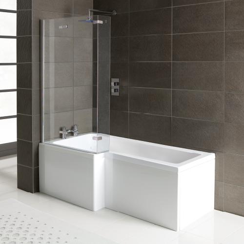 Matrix Squrv2 1500 x 850 x 700mm Left Hand Shower Bath Complete with Screen