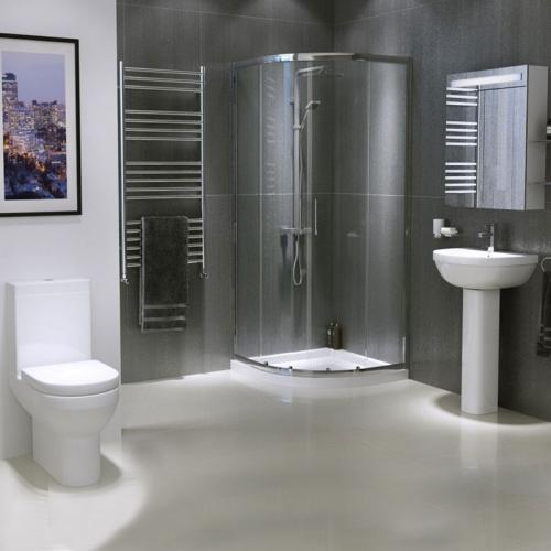 Modern Bathroom Suite with Quad Shower Enclosure
