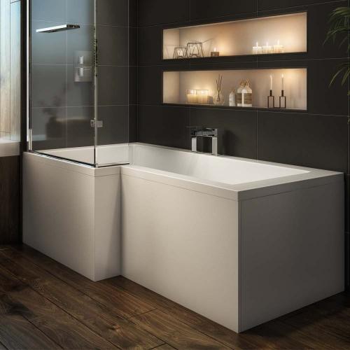 L Shape Shower Bath, 6mm Screen & Front Panel - British Made.  Union L By Voda Design