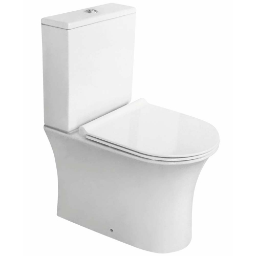 Close Coupled Rimless Open Back Toilet, Cistern & Seat - F10 By Voda Design
