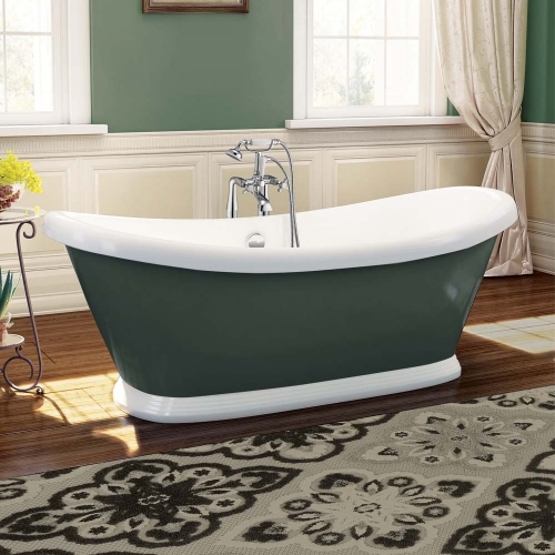 1770mm Traditional Grey Freestanding Bath - Boat By Voda Design