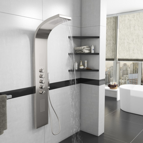 Synergy Monroe Waterfall Shower Panel Stainless Steel with Body Jets