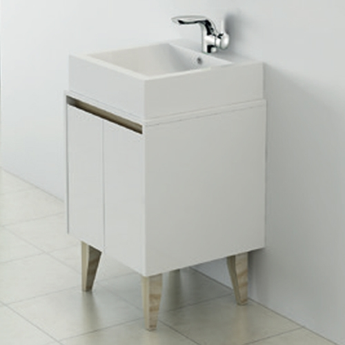 White 500mm Wall Hung Vanity Unit With Countertop Basin - Zeke By Voda Design