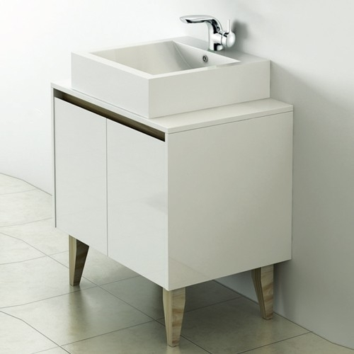 White 700mm Wall Hung Vanity Unit With Countertop Basin - Zeke By Voda Design