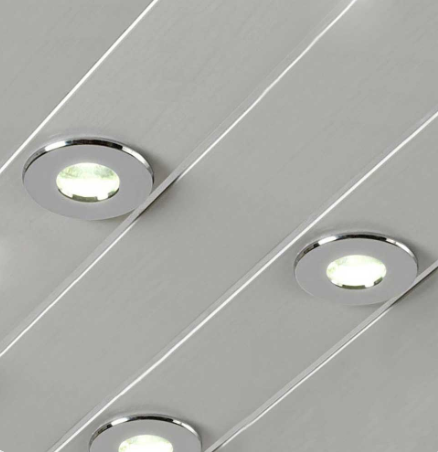 Gloss White Ceiling & Wall Panel with Chrome Strip by Voda Design