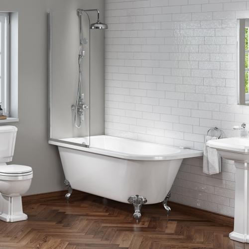 Rochester 1700 Roll Top Shower Bath with Screen + Chrome Leg Set