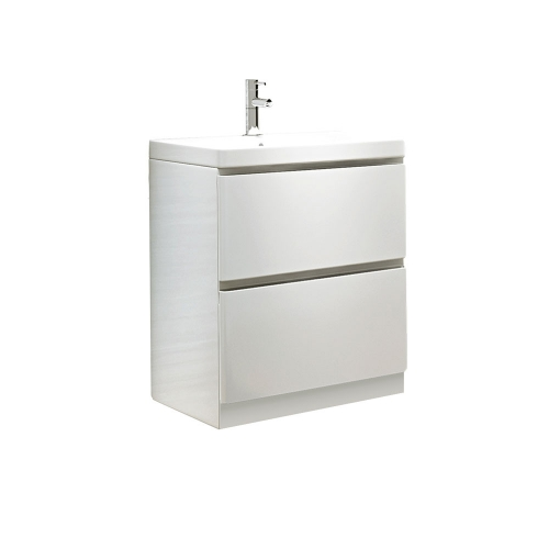 White Modern Freestanding 600mm Vanity Unit And Basin