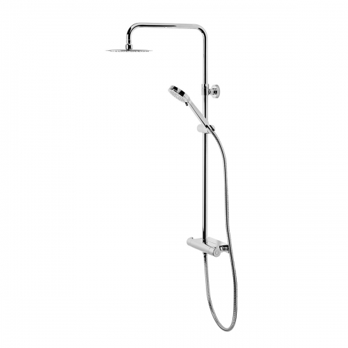 Quantum Thermostatic Diverter Bar Valve Shower System With Accessory Shelf And Shower Head