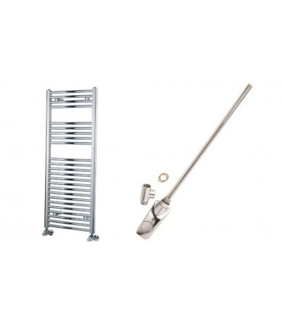 Thermostatic Straight Chrome Electric Towel Rail