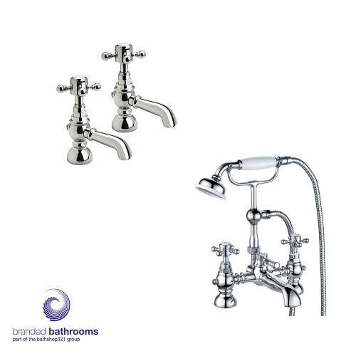 Traditional Tap Set Bathroom Pair Basin Taps Bath Shower Mixer