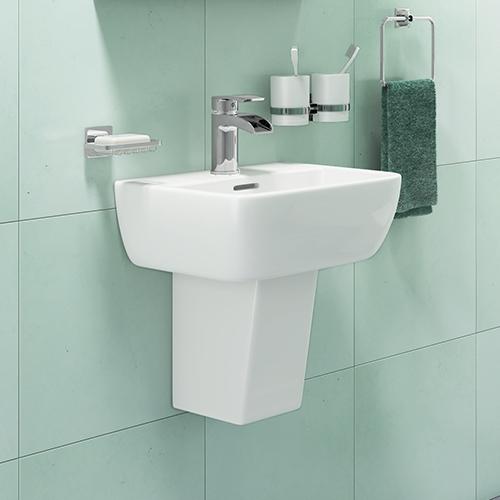 420mm 1 Tap Hole Basin & Semi Pedestal - R10 By Voda Design