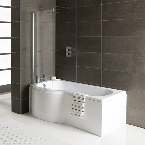 P Shape Shower Bath - Made In UK, With 6mm Screen & Bath Panel - All Sizes